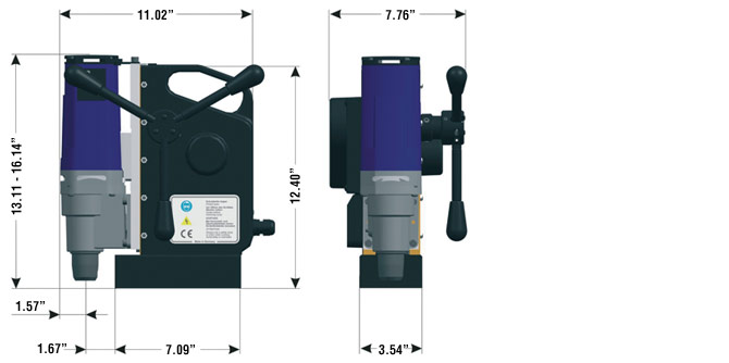 AutoMAB 1500 Magnetic Drill Dimensions