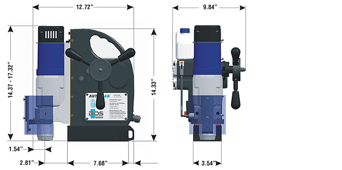 AutoMAB 2000 Magnetic Drill Dimensions