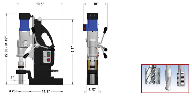 MAB 1300 Magnetic Drill Dimensions
