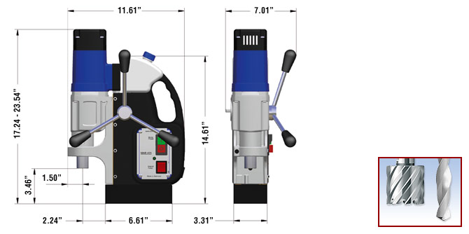 MAB 455 Magnetic Drill Dimensions