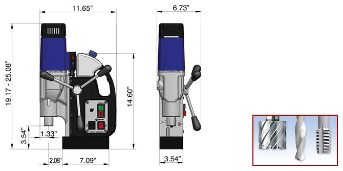 MAB 525 Production Magnetic Drill Dimensions