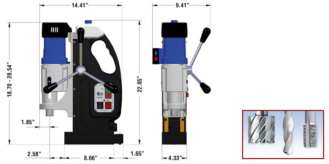 MAB 825/845 Magnetic Drill Dimensions