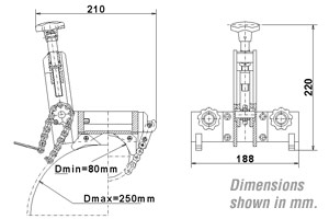 PAK-100 Pipe Saddle Clamp Dimensions