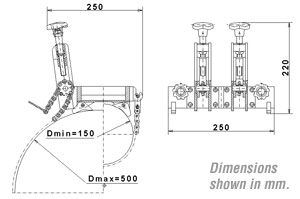 PAK-200 Pipe Saddle Clamp Dimensions