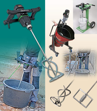 Portable Mixers with Variable Speed, Electric and Pneumatic Mixing Paddles, Portable Mixing Stand and Accessories