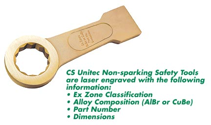 CS Unitec Non-sparking safety tools are laser engraved with Ex zone information