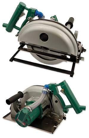 Pneumatic circular saw for dry cutting of metal, steel and more