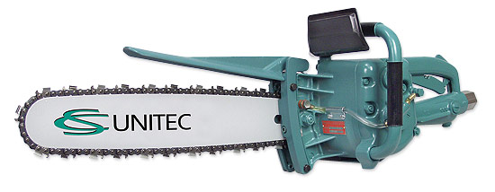 Pneumatic chain saw for wood and plastic