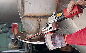 Sander with narrow filing arm and 140-degree adjustability