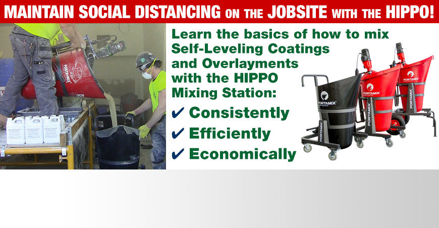 HIPPO Portable Mixing Station Mixes Self-Leveling Coatings and lets workers practice social distancing