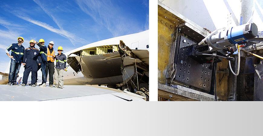 El taladro magnético portátil MAB 485 corta a través de Boeing 747