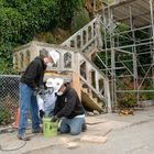 CS Unitec mixer used to restore steps at Alcatraz Island