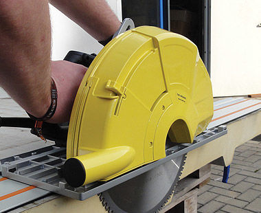 handheld dry cut circular saw cutting side view