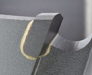 9-Series TCT Hornet Tungsten Carbide-Tipped Stack Cutters Tooth Closeup