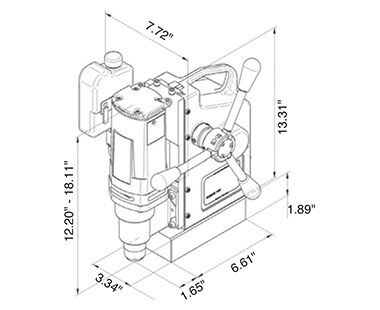 AutoMAB 350 Automatic Feed Portable Drilling Machine Dimensional Drawing