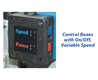 Control boxes with on/off, variable speed