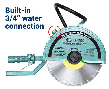 "14"" hand-held cut-off saw with built-in 3/4"" water connection"