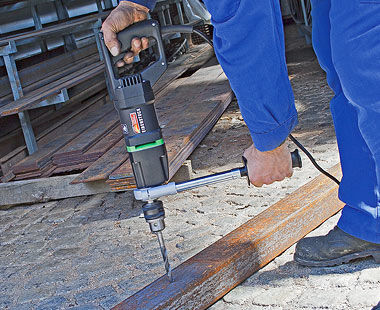 EHB 16 Hand-Held Drill - Drilling Steel Beam Application
