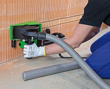 EMF 180 Wall Slotter Cutting Brick