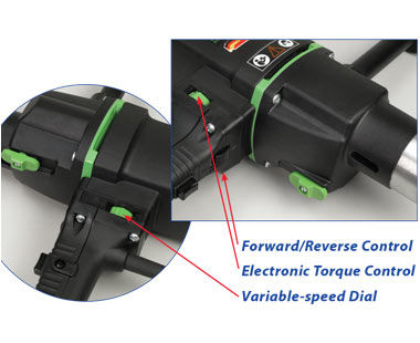 Forward/Reverse control, electronic torque control and variable-speed dial