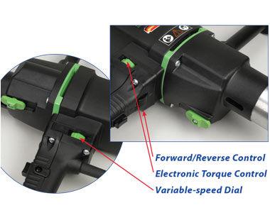Control de avance / retroceso, control electrónico de par y dial de velocidad variable