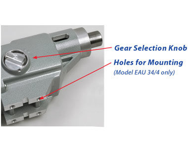 Gear selection knob and holes for mounting