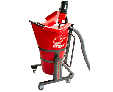 Portable mixing station with hinged lid open and dust collection