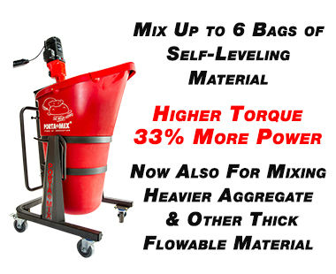 Portable self leveling mixing stations for level floors or rough terrain part numbers
