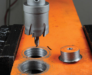 Cutting metal with carbide-tipped hole saw