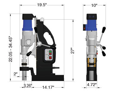 MAB 1300 Portable Magnetic Drill Dimensional Drawing