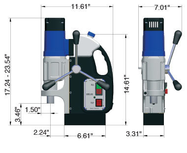MAB 455 Portable Magnetic Drill Dimensional Drawing