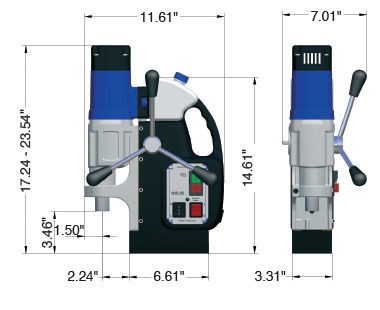 MAB 525 Portable Magnetic Drill Dimensional Drawing