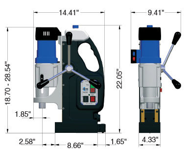 MAB 825 and 845 Portable Magnetic Drill Dimensional Drawing