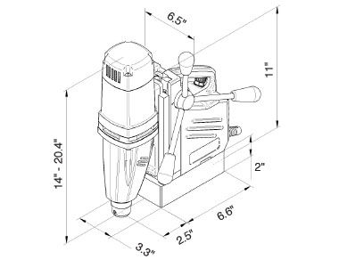MABasic 400 Portable Magnetic Drill Dimensional Drawing