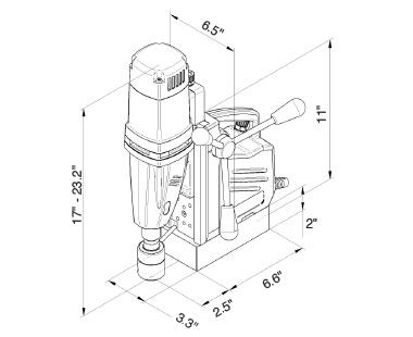 MABasic 450 – Two-Speed Portable Magnetic Drill Dimensional Drawing