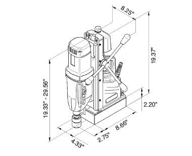 MABasic 850 Portable Magnetic Drill Dimensional Drawing