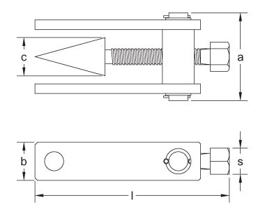 Ex1102 Non-Sparking, Non-Magnetic Flange Spreader Dimensional Drawing