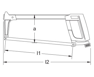 Ex118A Non-Sparking, Non-Magnetic Hacksaw Frame Dimensional Drawing
