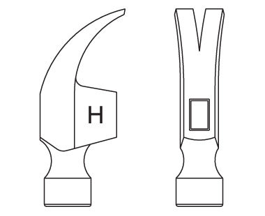 Ex122U Claw Hammer Dimensional Drawing