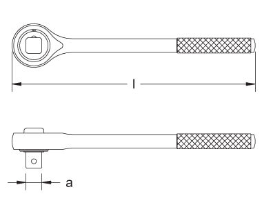 Ex1501S Ratchet Wrench Dimensional Drawing