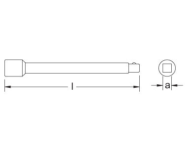 Ex1504 Extension Bar Dimensional Drawing