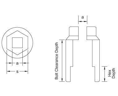 """Dados profundos, de 6 puntos, de 3/4"""" dibujo dimensional"""