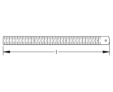 Ex1601 Non-Sparking, Non-Magnetic Ruler Dimensional Drawing