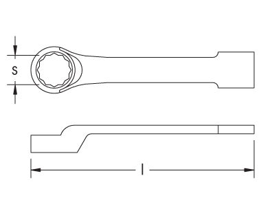 Ex201F Striking Box Wrench, 12-Point, Offset Dimensional Drawing