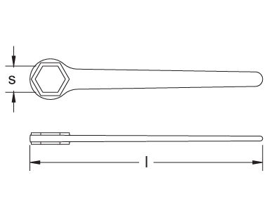 Ex204 Non-Sparking, Non-Magnetic Box End Wrench - 6-Point Dimensional Drawing