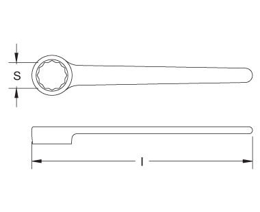 Ex204D Non-Sparking, Non-Magnetic Box End Wrench - 12-Point, DIN 3111 Dimensional Drawing