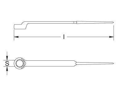 Ex204S Non-Sparking, Non-Magnetic Construction Wrench, Ring End, with Pin Dimensional Drawing