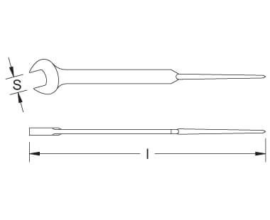 Ex205S Non-Sparking, Non-Magnetic Construction Wrench with Pin (Open End) Dimensional Drawing
