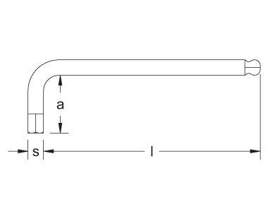 Llave Allen/hexagonal, punta de bola, tipo largo dibujo dimensional