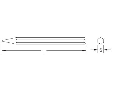 Ex307 Non-Sparking, Non-Magnetic DIamond Point Chisel Dimensional Drawing